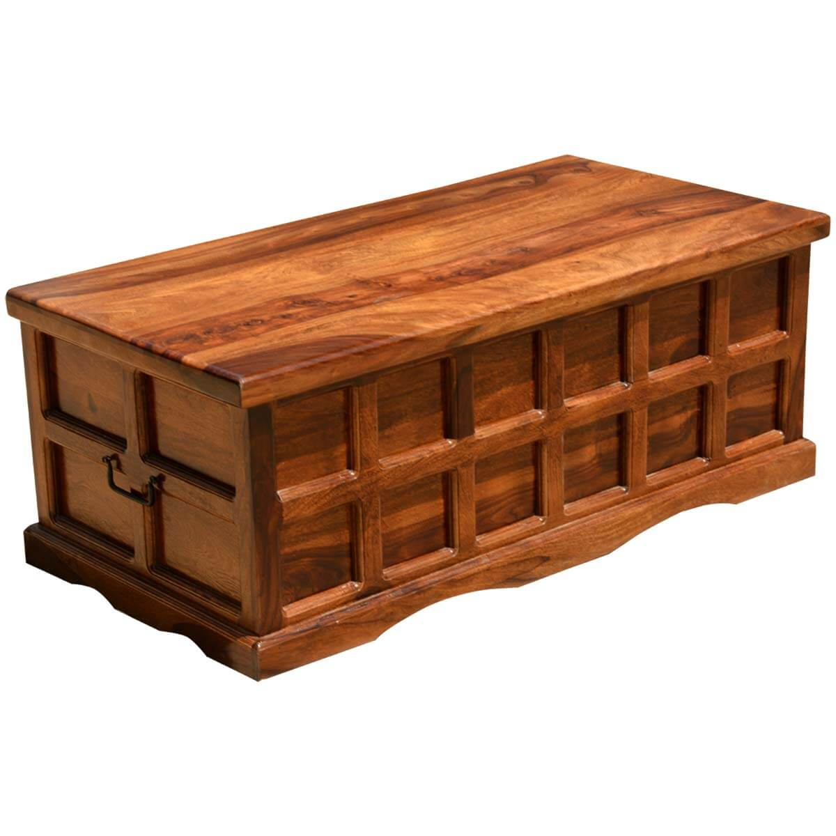 solid wood handmade traditional coffee table storage box chest. Black Bedroom Furniture Sets. Home Design Ideas