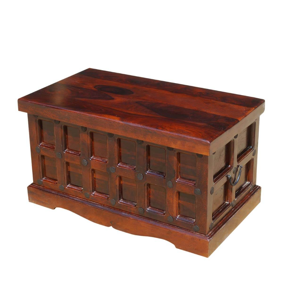 Solid wood trunk coffee table blanket storage chest Coffee table chest with storage