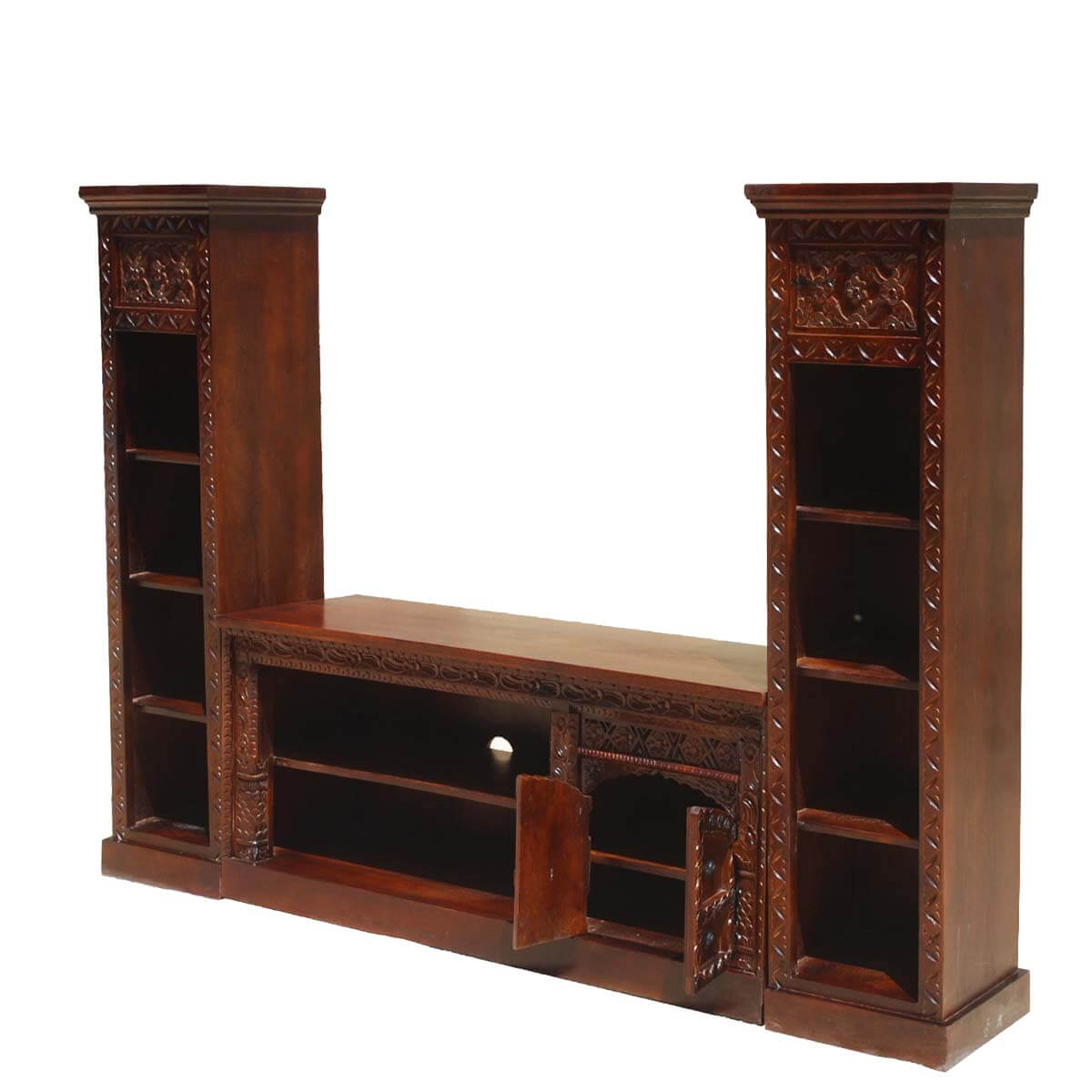 Rustic solid wood twin bookcase media console tv stand for Media center with bookshelves