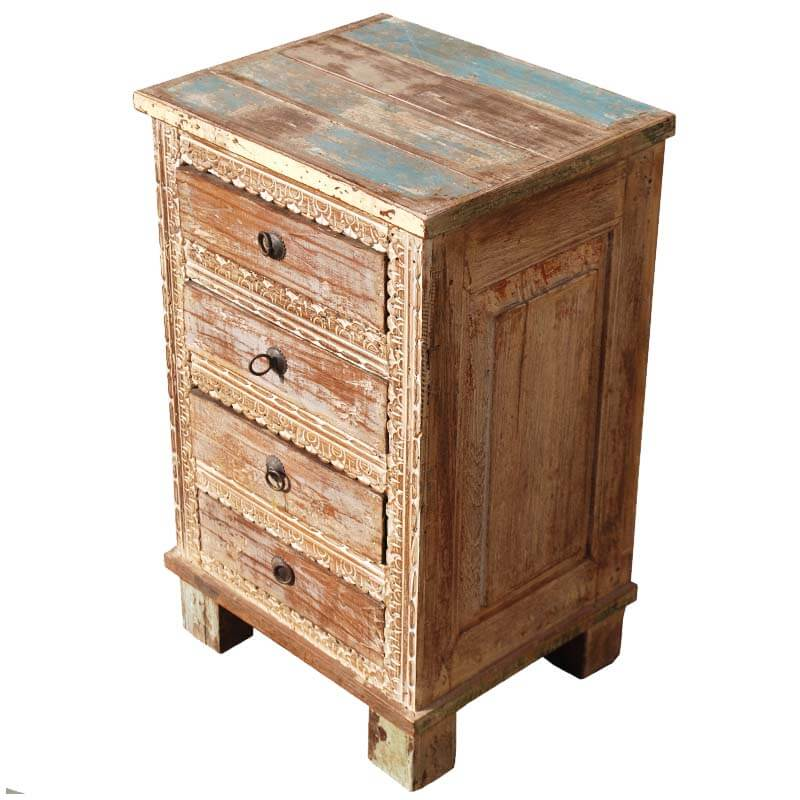 Distressed Wood Rustic 4 Storage Drawer Bedside Accent End