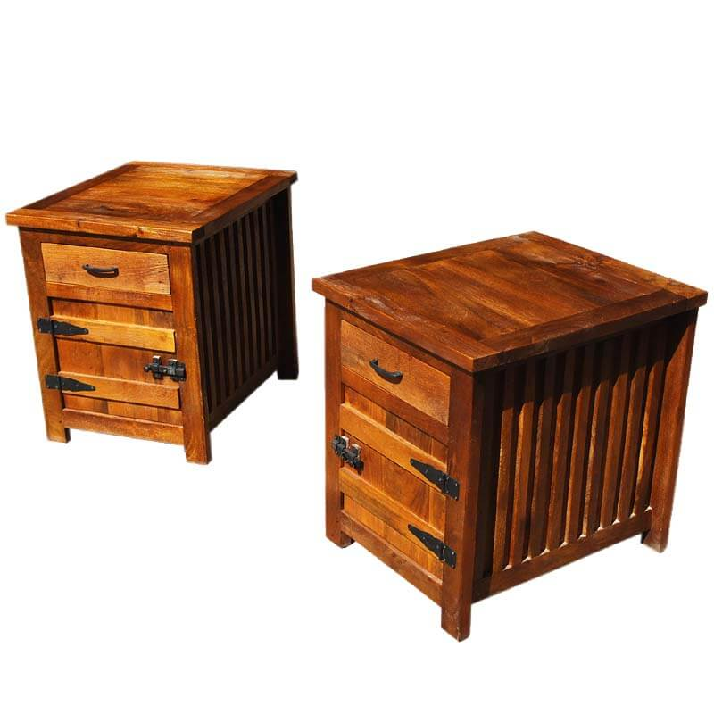 Solid Wood Bedside Box Night Stand End Table Twin Set Set