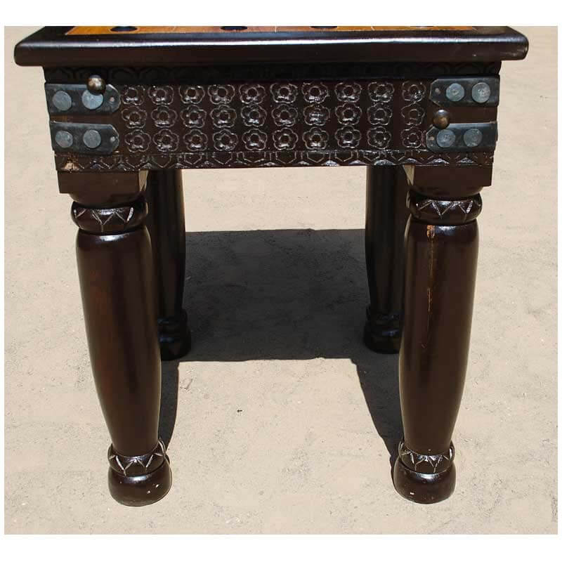 Nottingham hand carved side end table w wrought iron hardware for Wrought iron side table