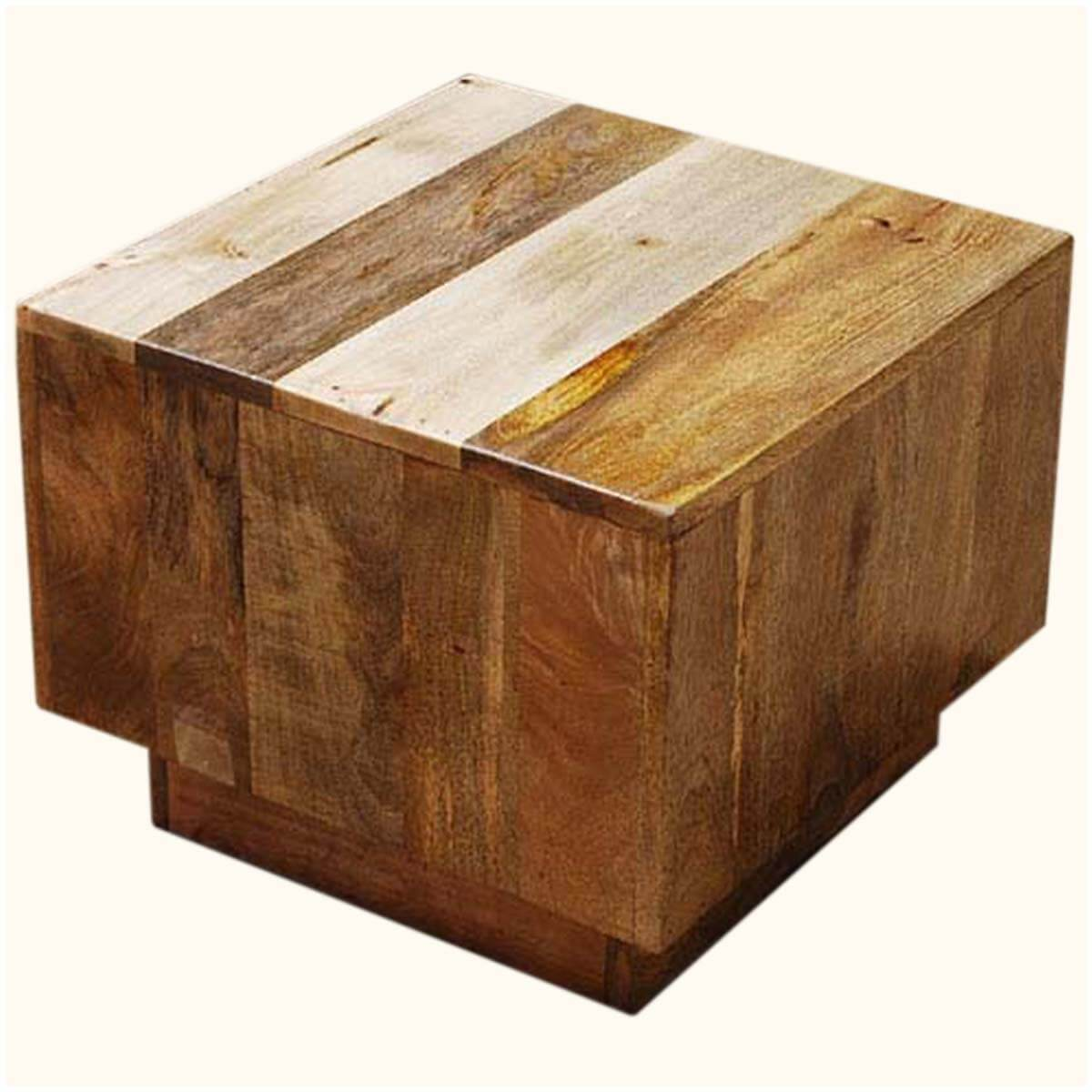 key west mango wood cube accent table. Black Bedroom Furniture Sets. Home Design Ideas