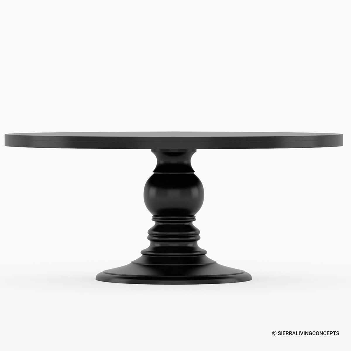 Tables Black Round Dining Table Made In Solid Wood W Round Pedestal