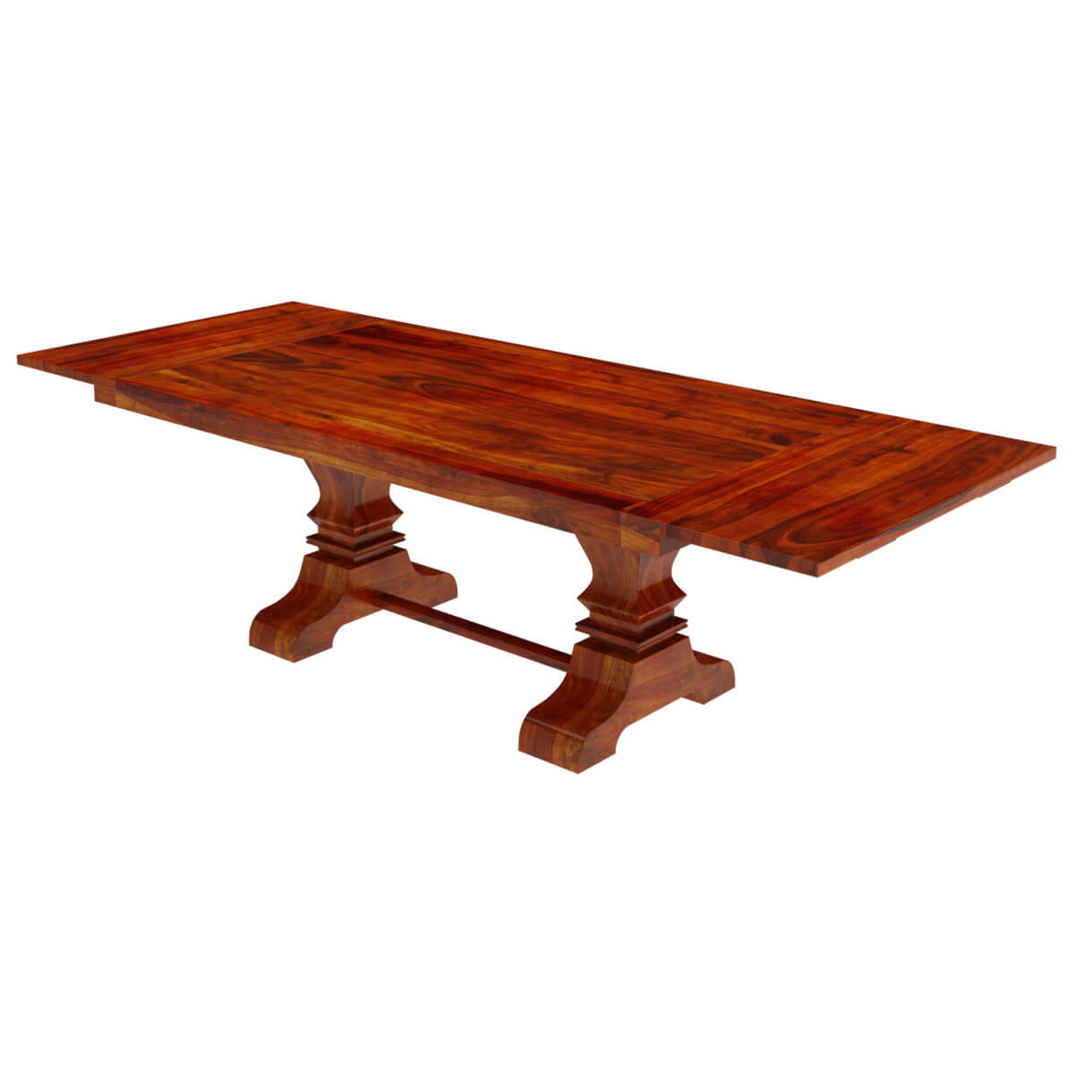 Solid wood large trestle pedestal dining table with extension for Pedestal dining table
