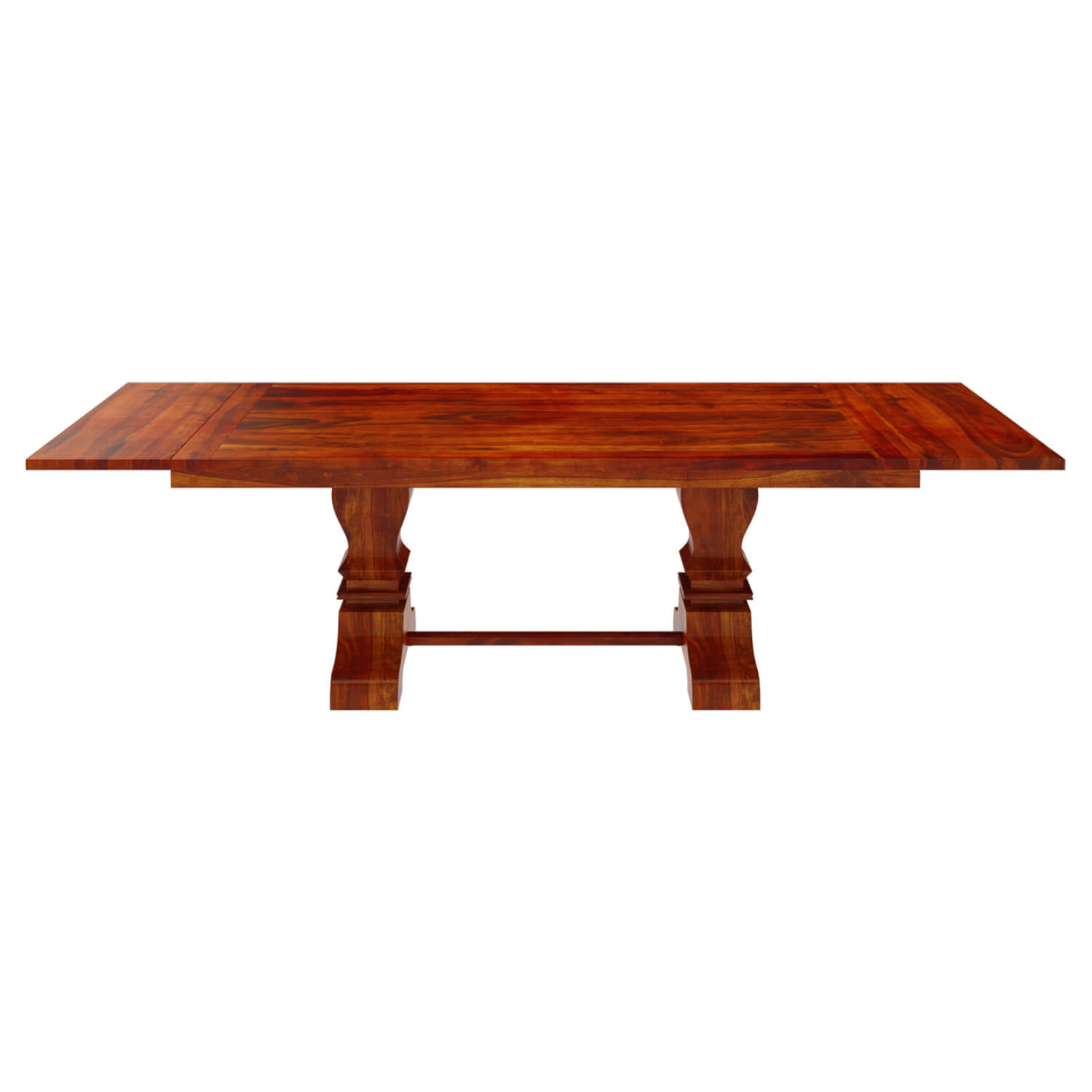 solid wood large trestle pedestal dining table with extension