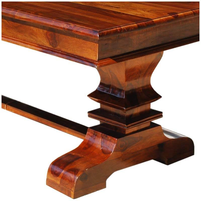 solid wood trestle pedestal rectangle rustic dining table