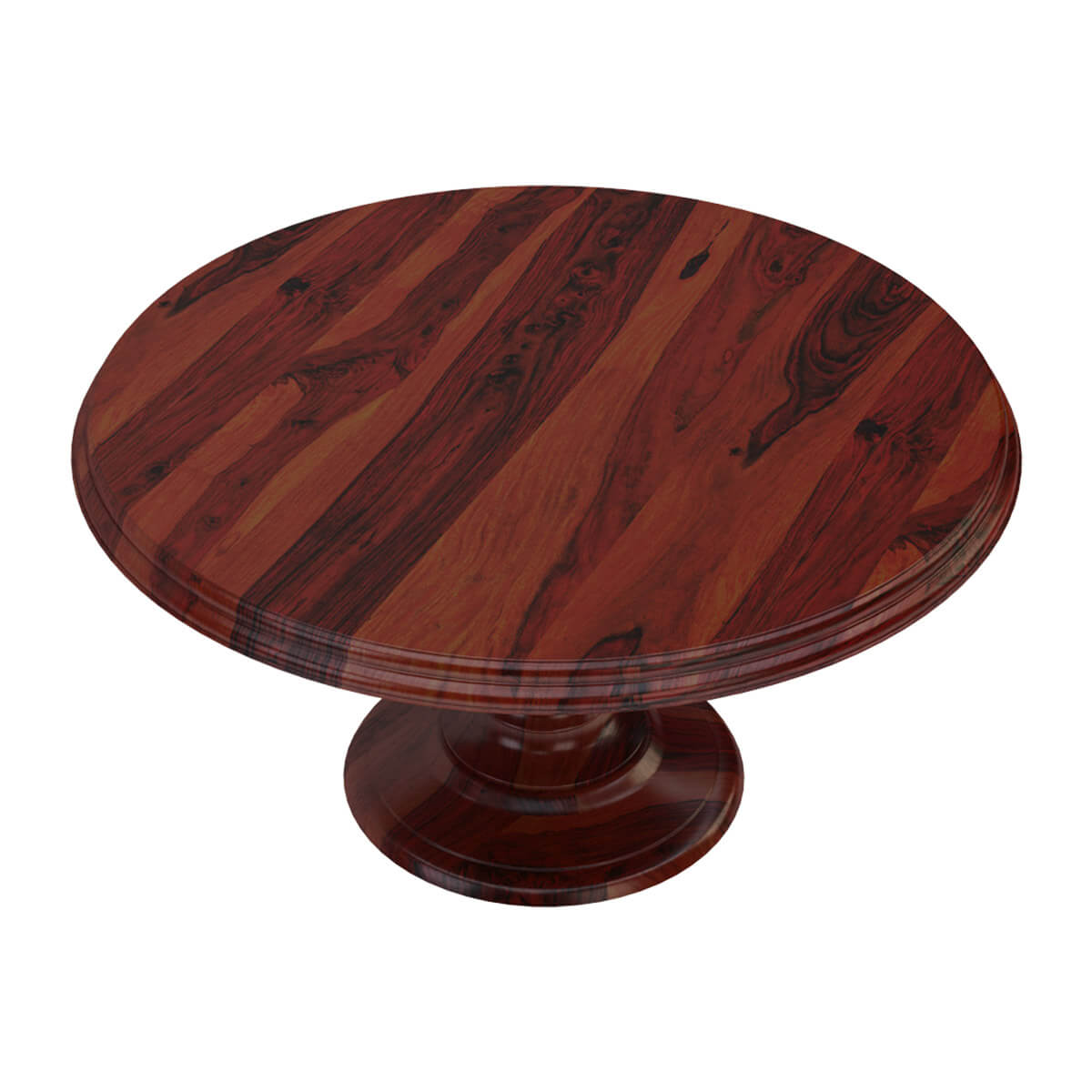 Solid wood rustic 60 round dining table with pedestal base for Dining room table pedestal bases