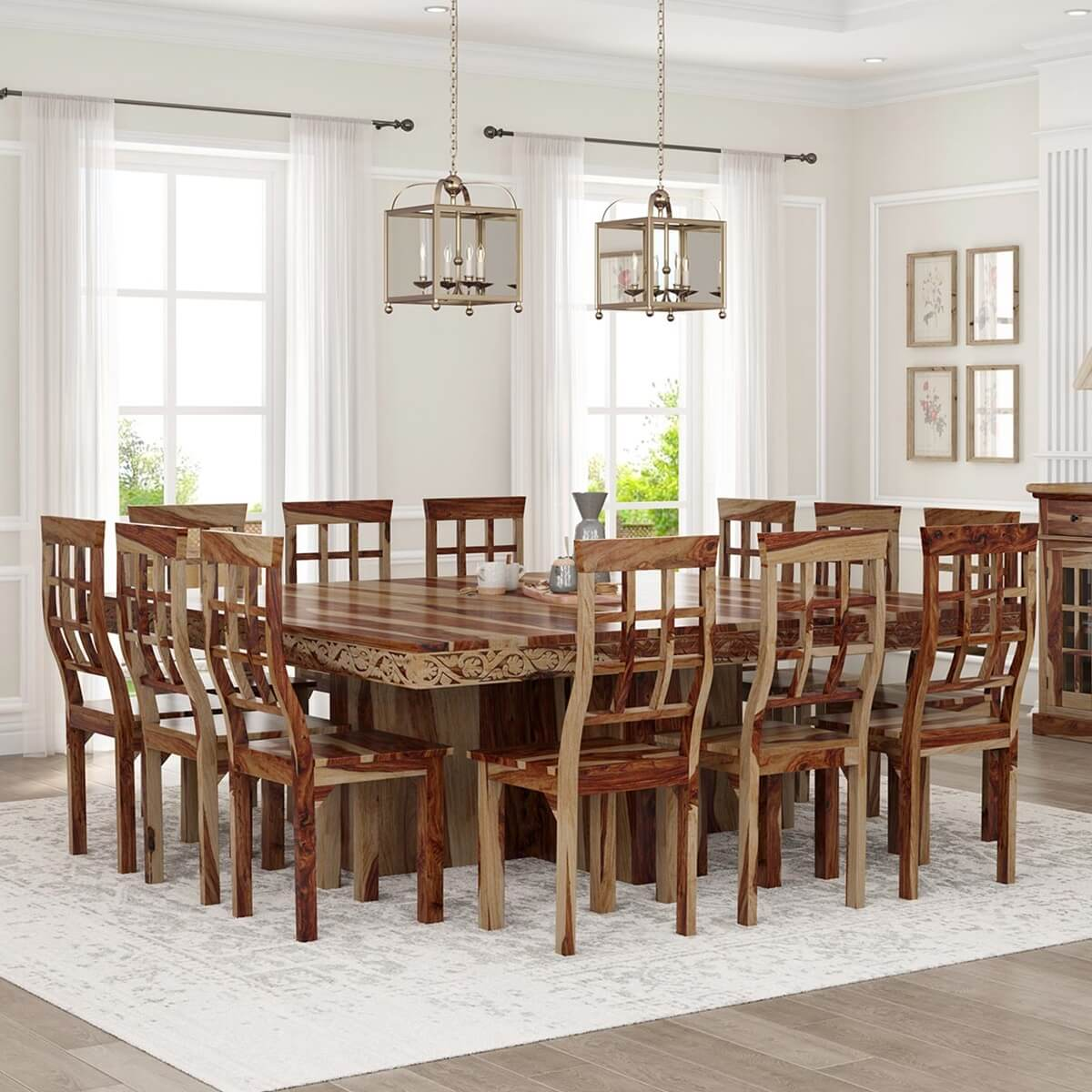 Dallas ranch large square dining room table and chair set for Big table small dining room