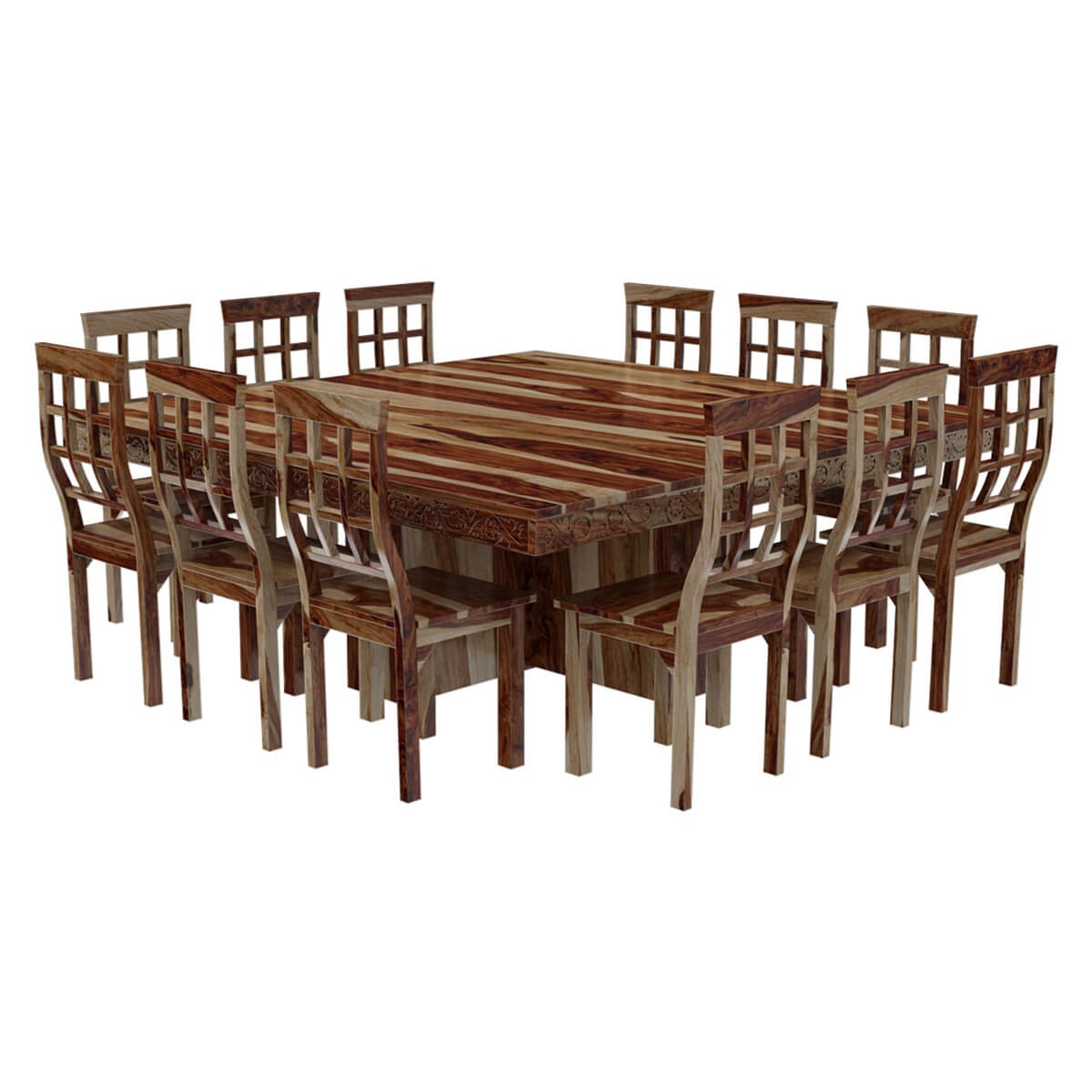 Dallas ranch large square dining room table and chair set for Esstisch 12 personen