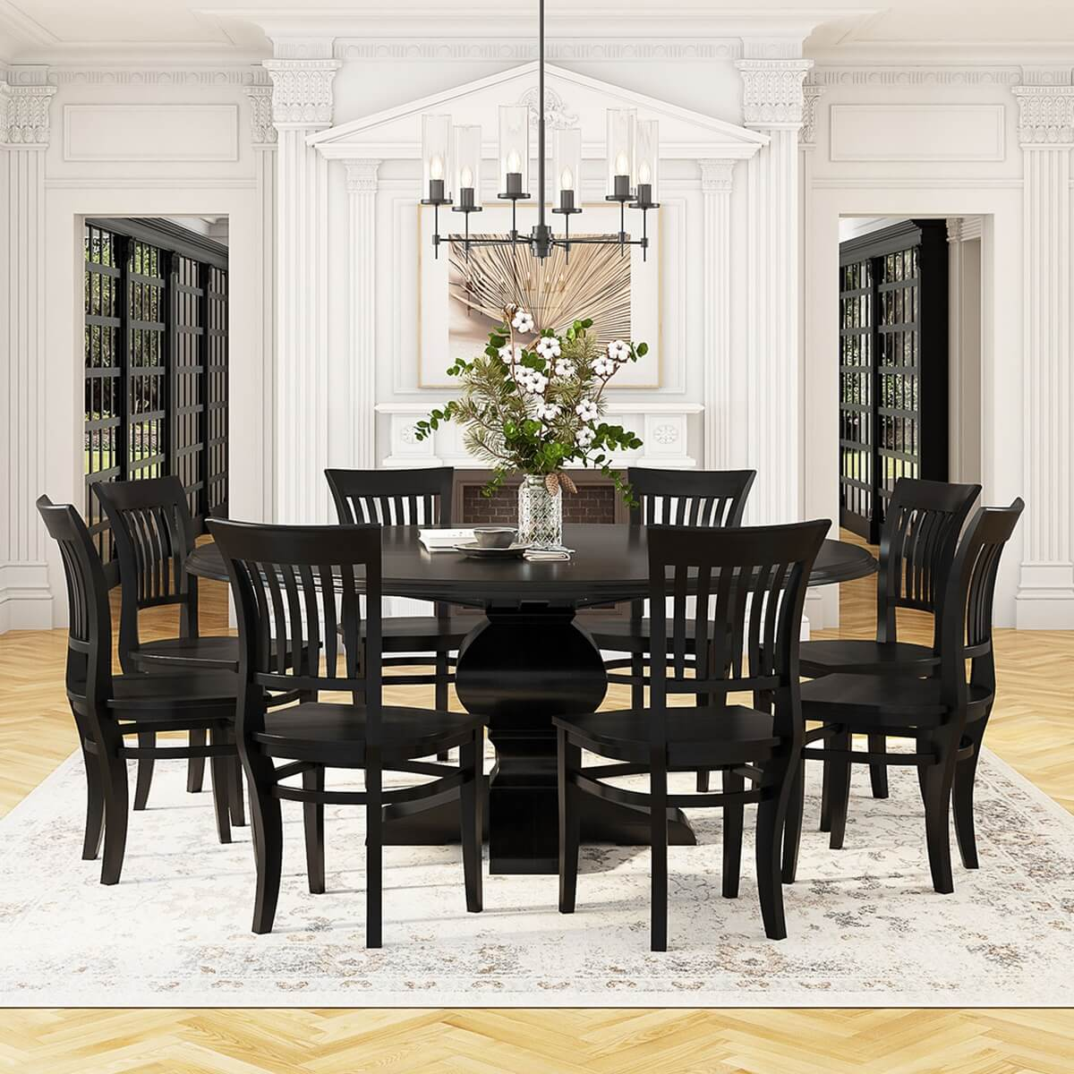Rustic Solid Wood Large Round Dining Table Chair Set