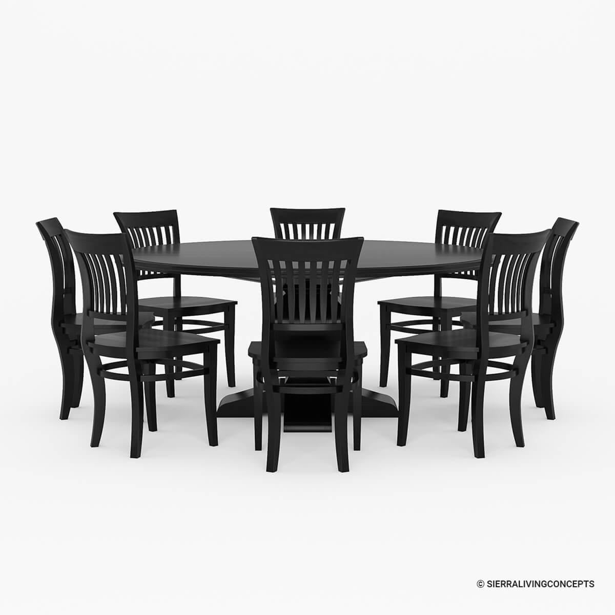 Sierra nevada large round rustic solid wood dining table for Wood dining table set