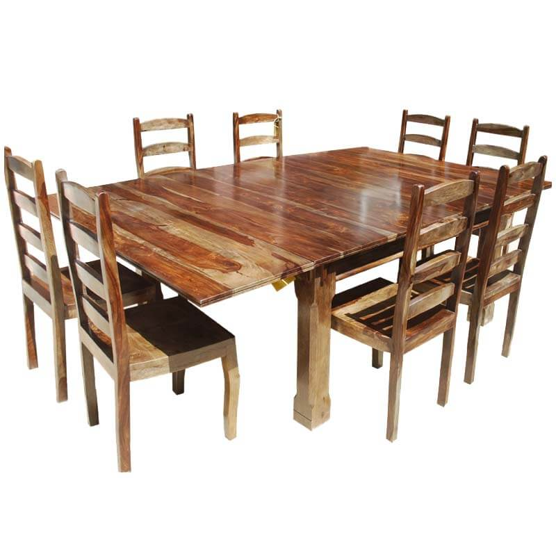 9pc large dining room set ladder back chairs table with extensions
