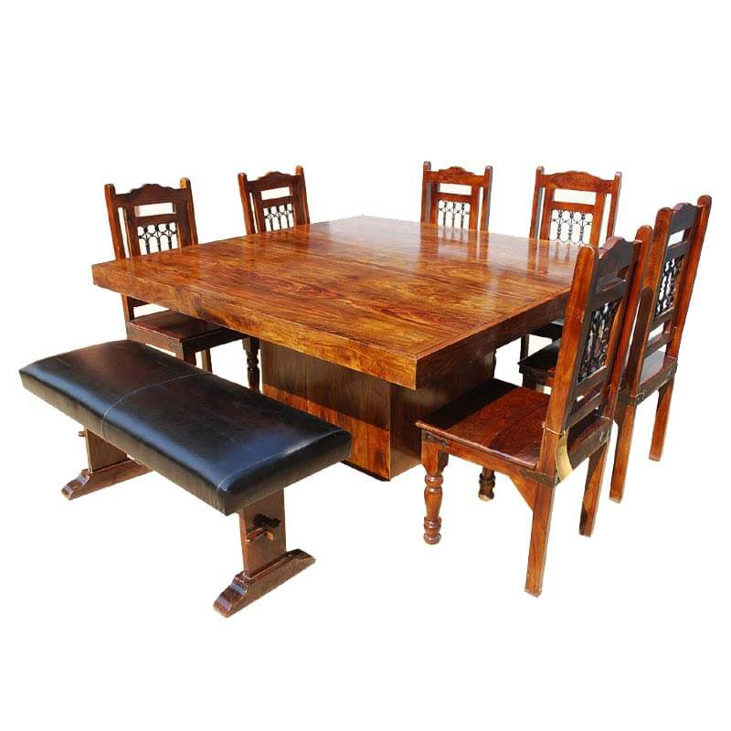 Solid Wood Square Pedestal Dining Table Chair Set W Bench