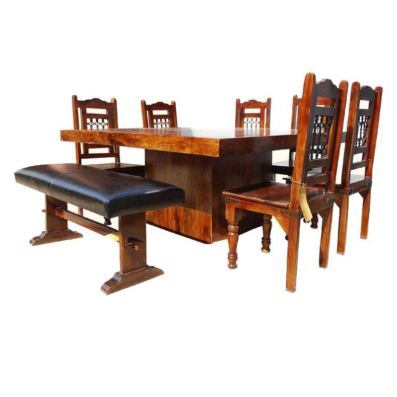 chair sets solid wood square pedestal dining table chair set w bench