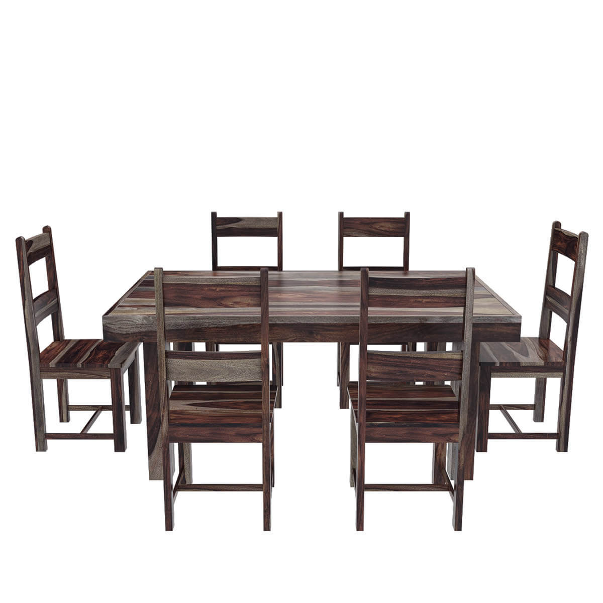 Frisco modern solid wood casual rustic dining room table for Wooden dining room chairs