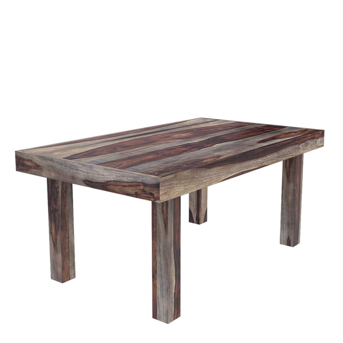 Frisco modern solid wood casual rustic dining room table for Table and chair set