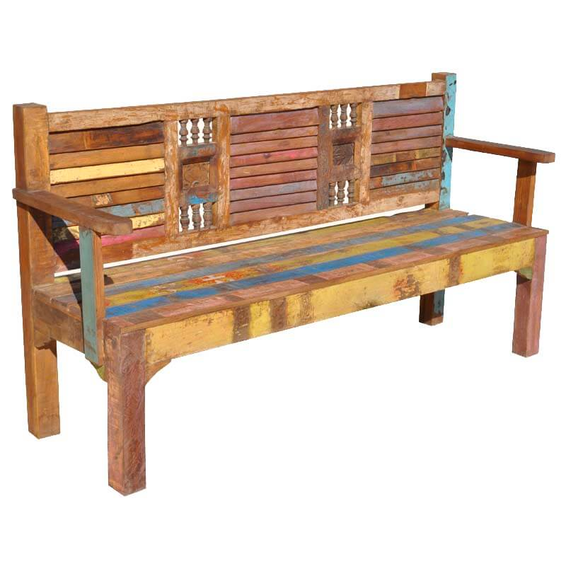Appalachian Rustic Wash Board Reclaimed Wood Multi Color Garden Bench