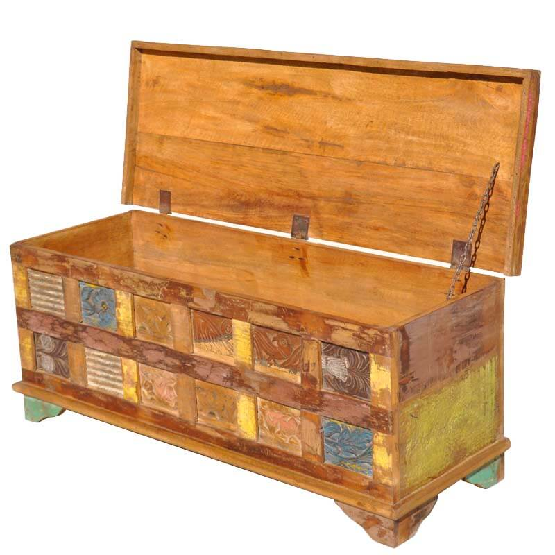 Santa Fe Reclaimed Wood Rustic Painted Squares Coffee Table Chest