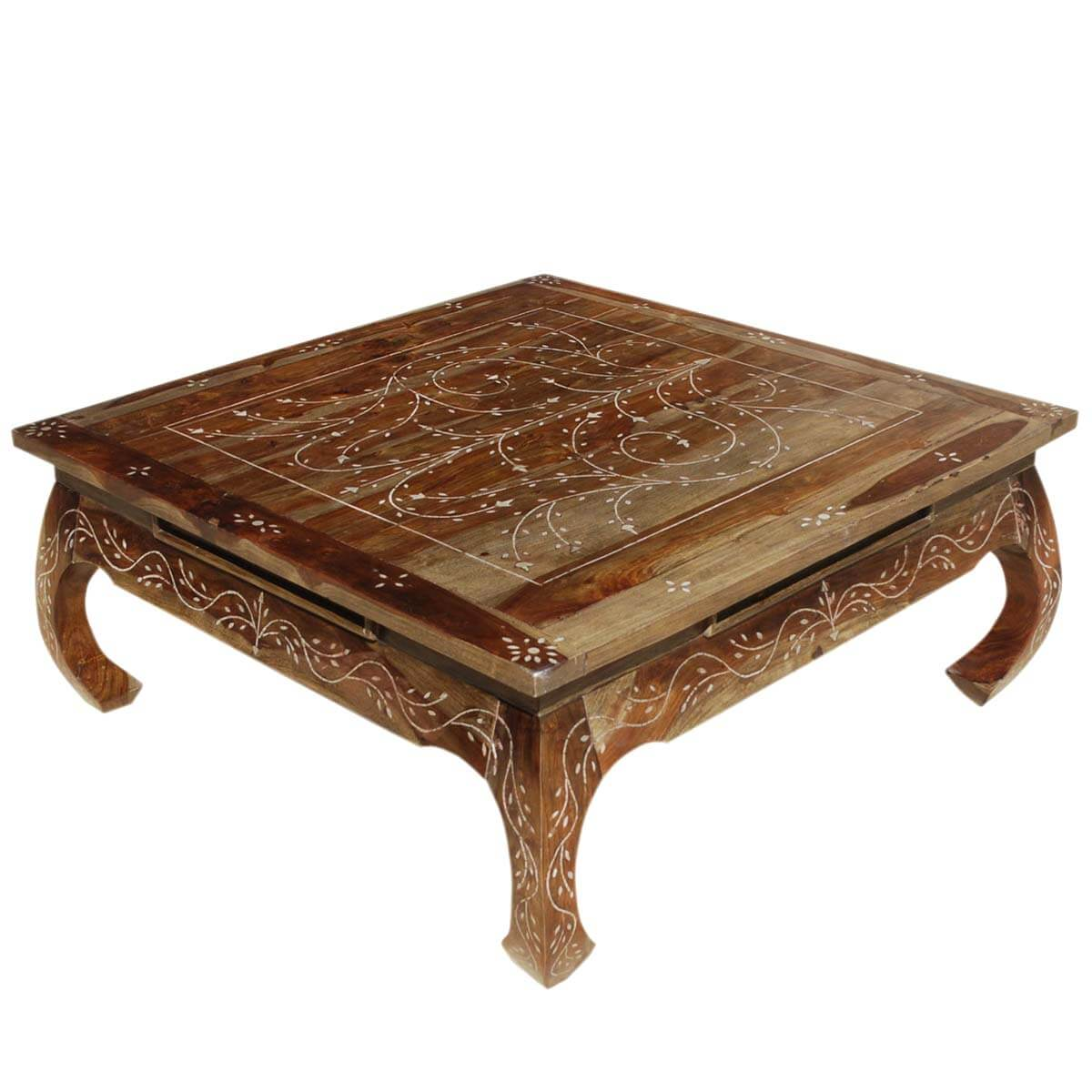Snow flower bone inlay indian rosewood opium style coffee Vogue coffee table
