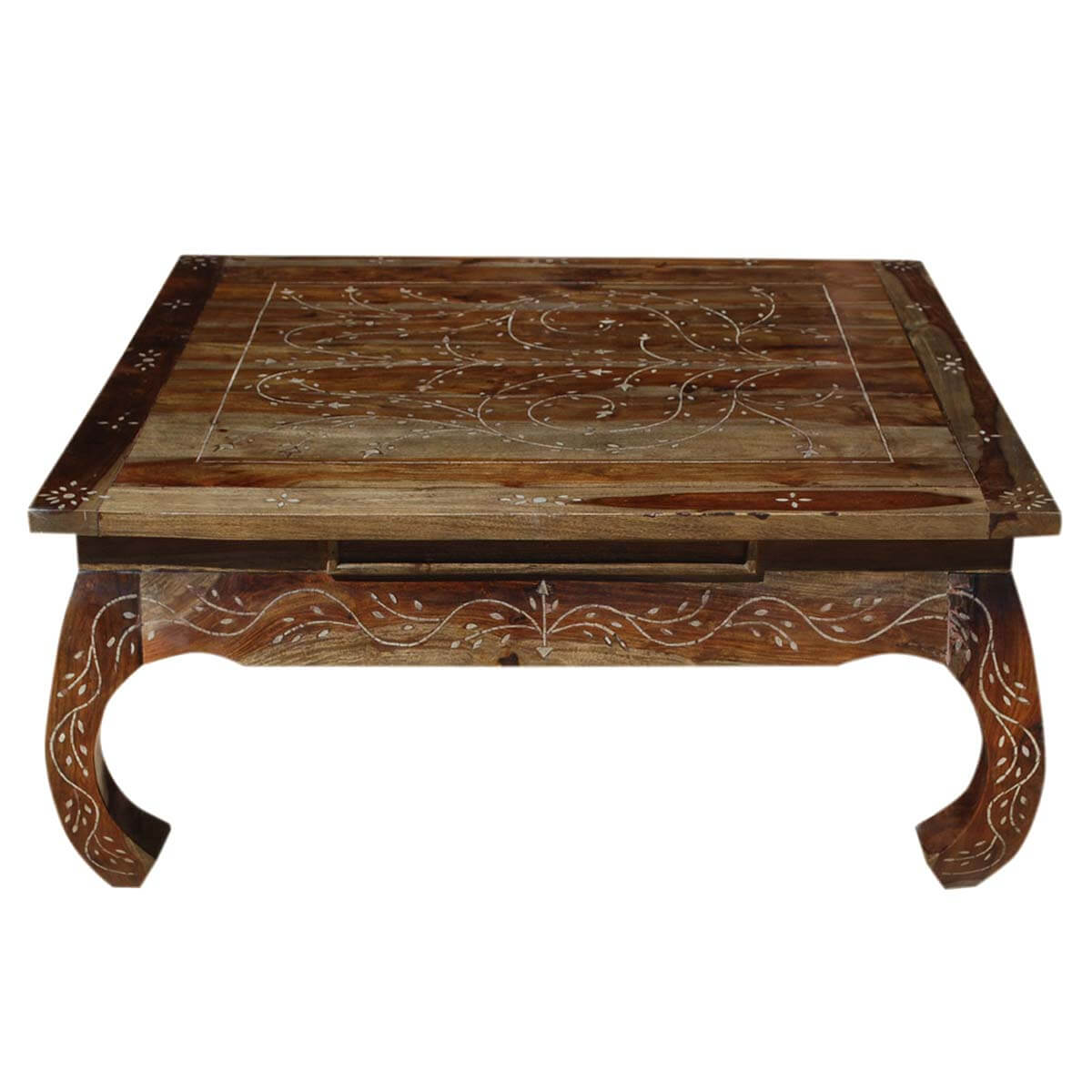 Snow Flower Bone Inlay Indian Rosewood Opium Style Coffee Table