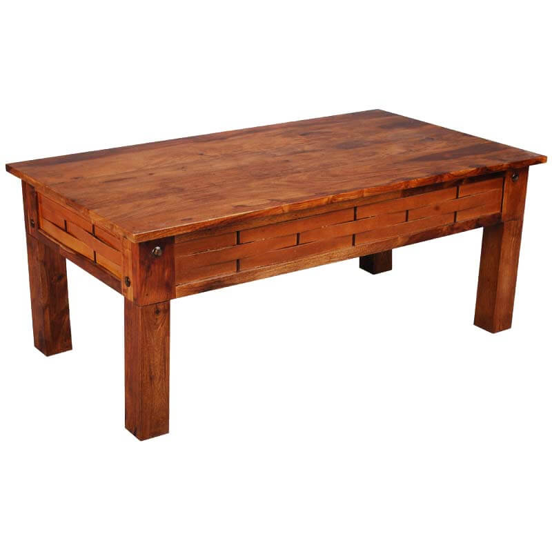Portland Traditional Solid Wood Basket Weave Coffee Table