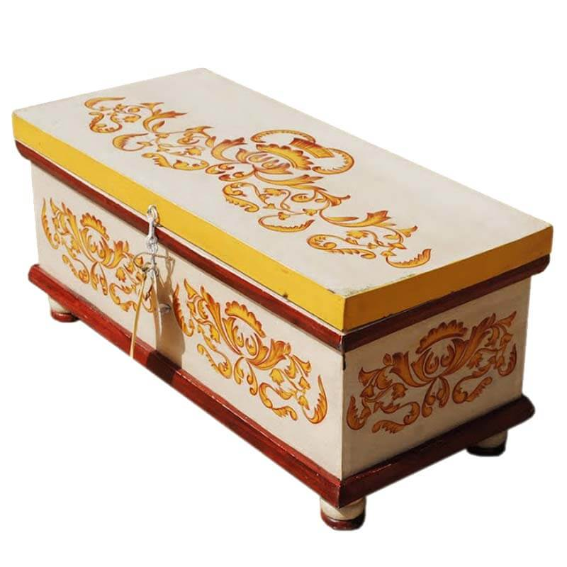 White Hand Painted Wood Storage Trunk Coffee Table Chest Blanket Box