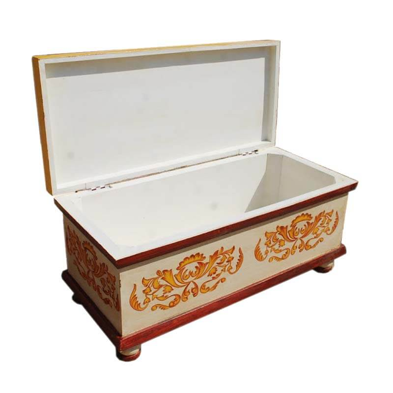 White hand painted wood storage trunk coffee table chest blanket box Coffee table chest with storage