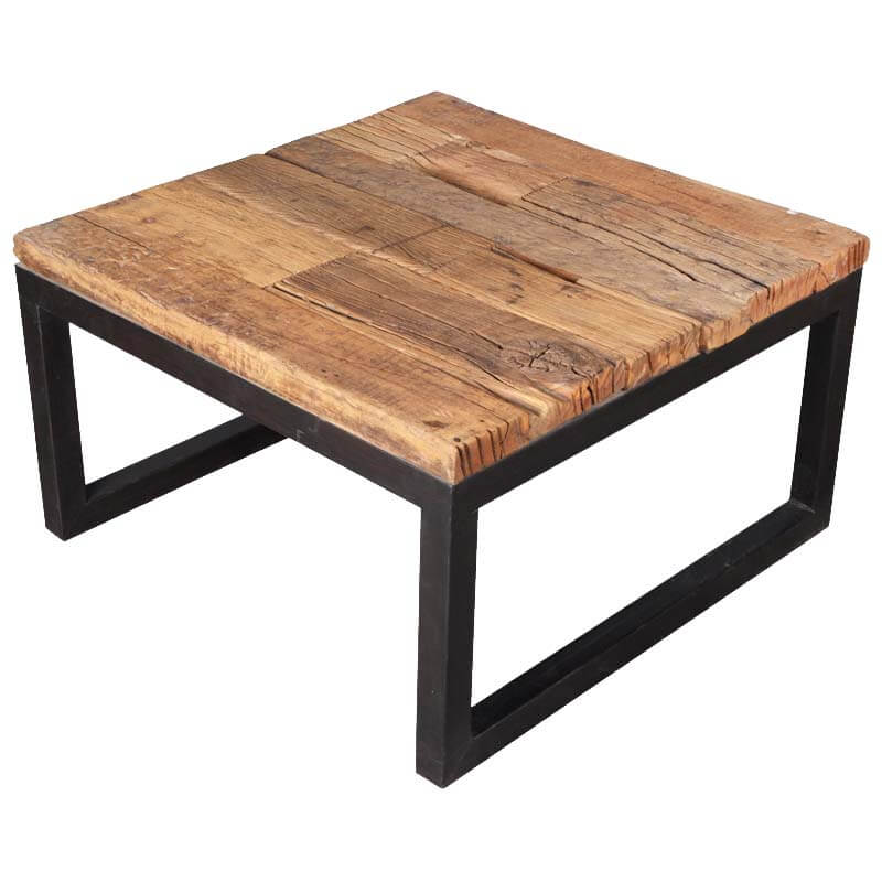 Industrial Iron Reclaimed Railroad Ties Wood Square Coffee Table Furniture