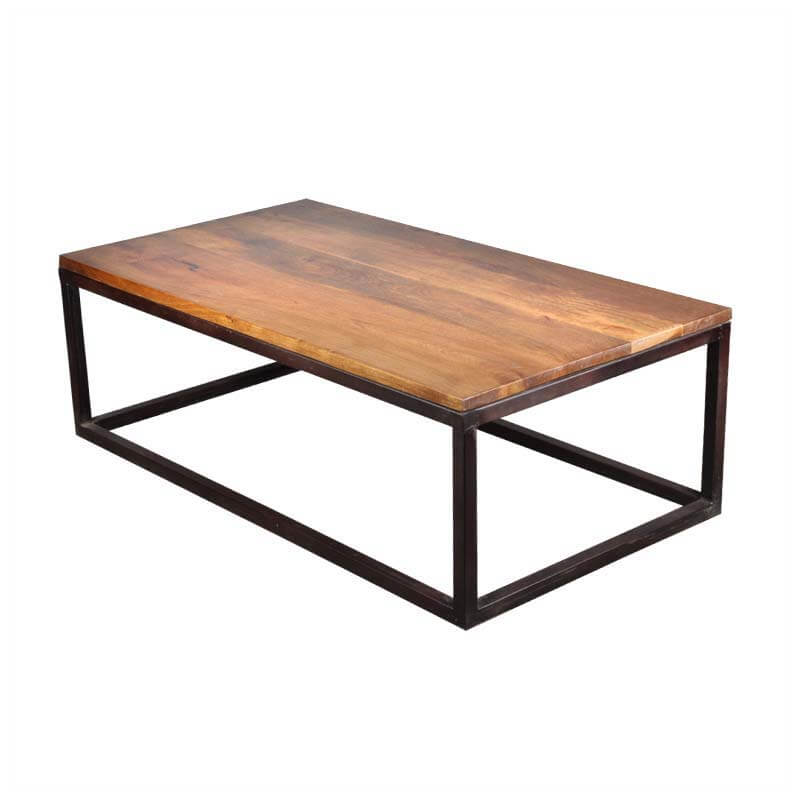 Iron mango wood 52 long industrial coffee table for Modern wooden coffee tables