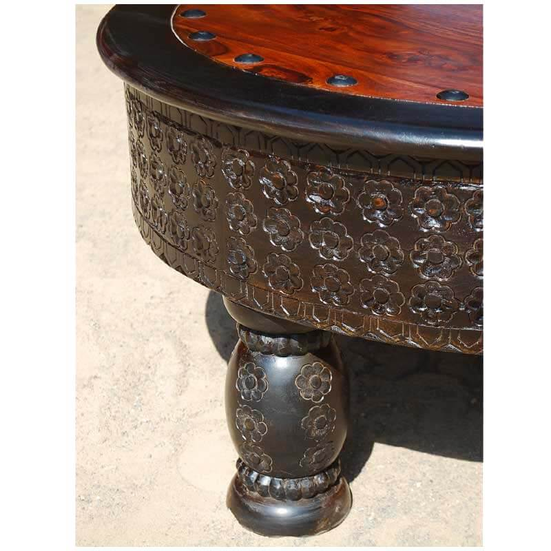 Mango wood hand carved round coffee table w wrought iron Carved wood coffee table