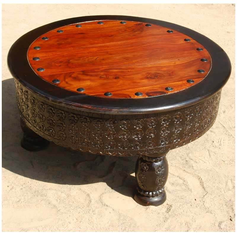 Rustic Round Wooden Coffee Table: Rustic Solid Wood Hand Carved Round Coffee Table