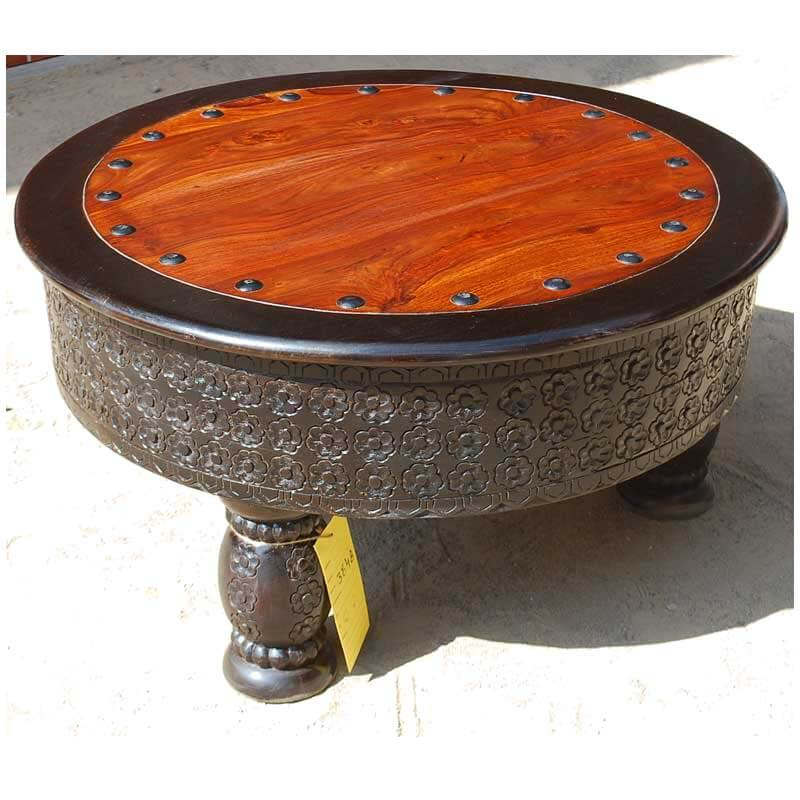 Mango wood hand carved round coffee table w wrought iron Carved coffee table
