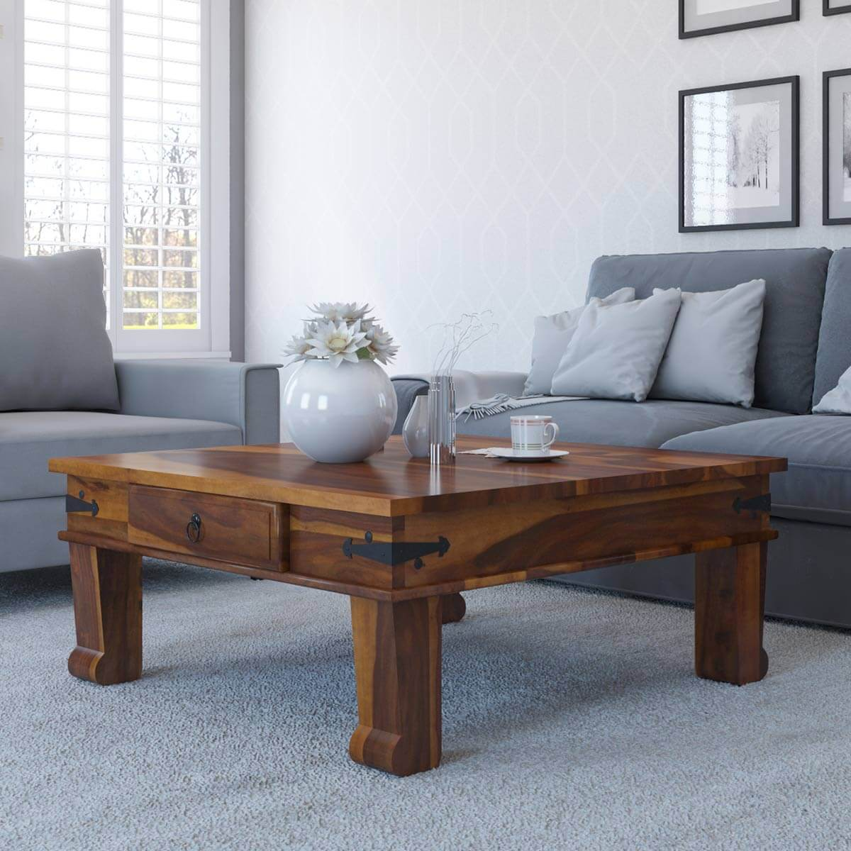 Solid wood sofa accent cocktail rustic square coffee table with storage drawer ebay Square coffee table with shelf