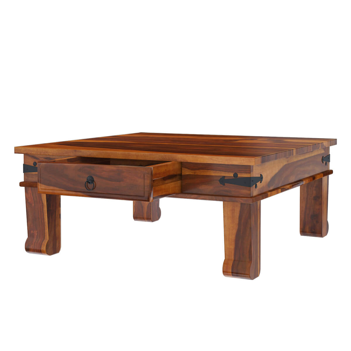 Solid Wood Sofa Accent Cocktail Rustic Square Coffee Table