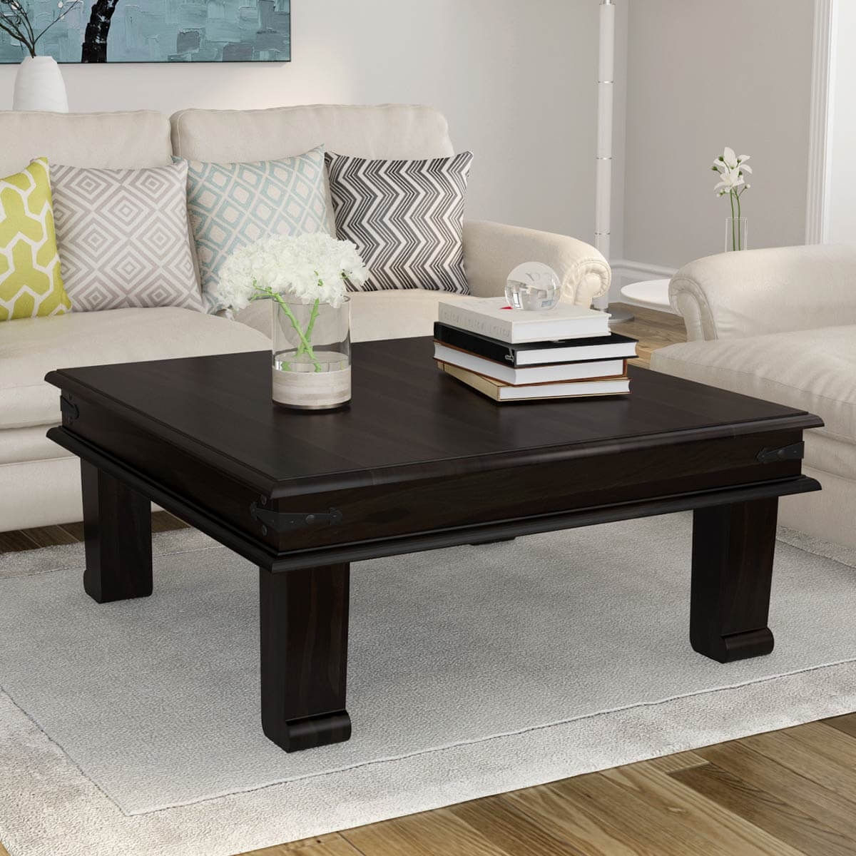 Solid Wood Square Cocktail Iron Accent Coffee Table