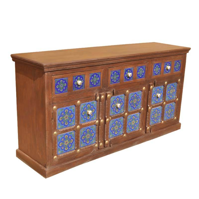 Painted Wooden Sideboard ~ Portland hand painted blue tile solid wood buffet cabinet