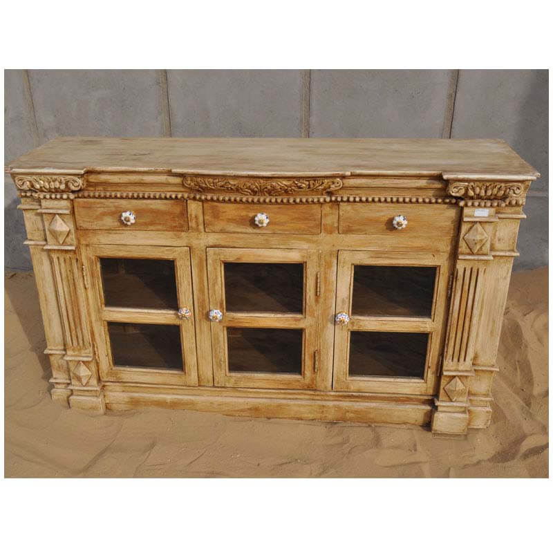 Solid wood buffet cabinet credenza dining room sideboard for Dining room sideboard