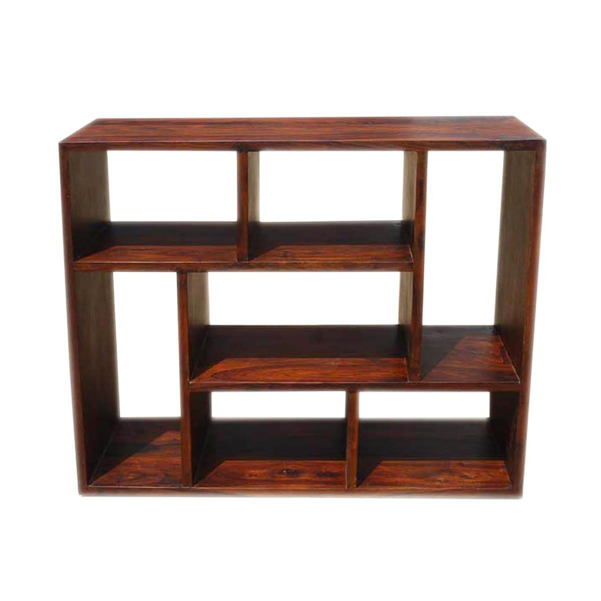 Asymmetrical Cube Bookcase Contemporary Wooden Display Cabinet Shelf