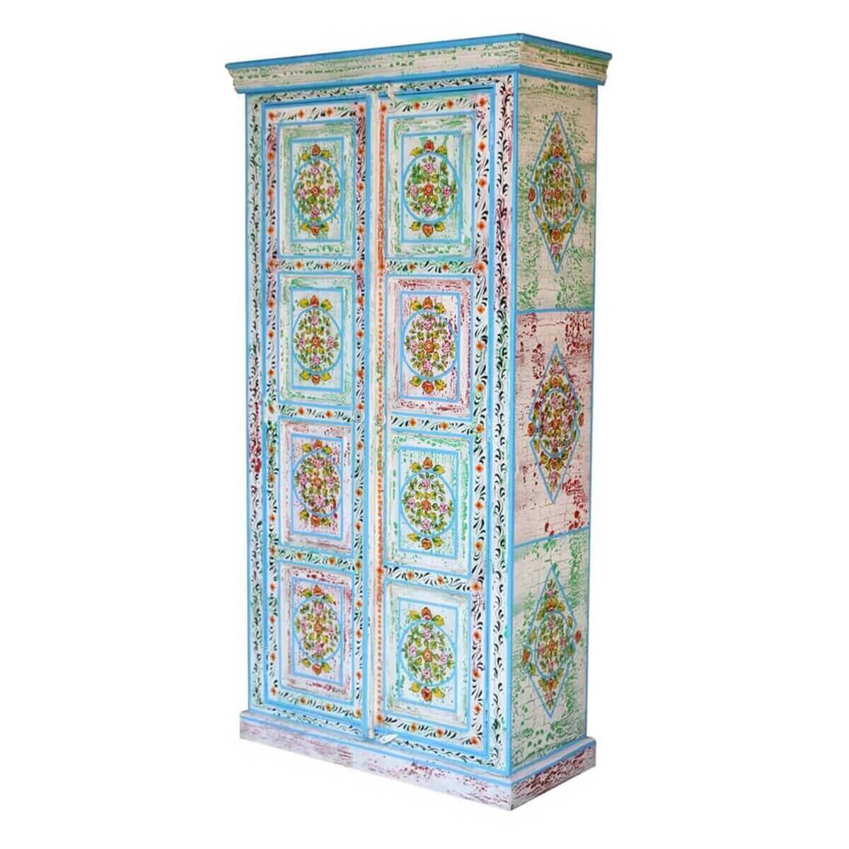 Vintage Victorian Distressed Hand Painted Blue Armoire