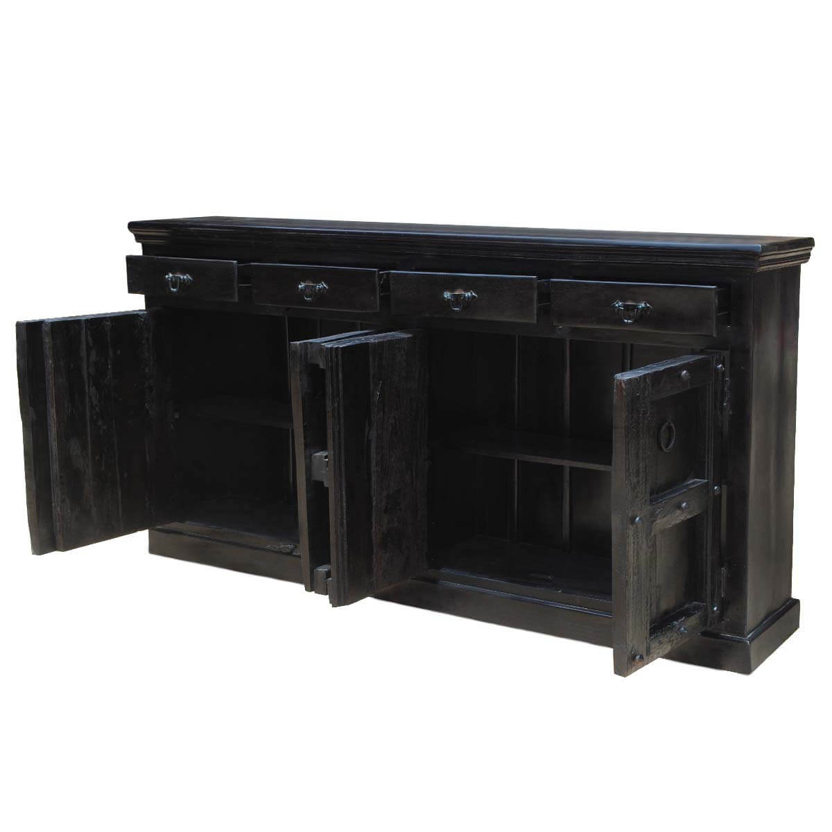 black solid wood kansas 82 long server buffet dining storage cabinet sideboard ebay. Black Bedroom Furniture Sets. Home Design Ideas