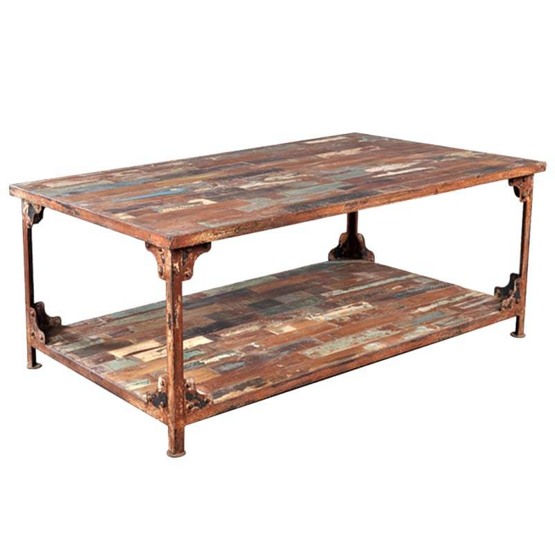 Distressed Reclaimed Wood Industrial Wrought Iron Rustic Coffee Table