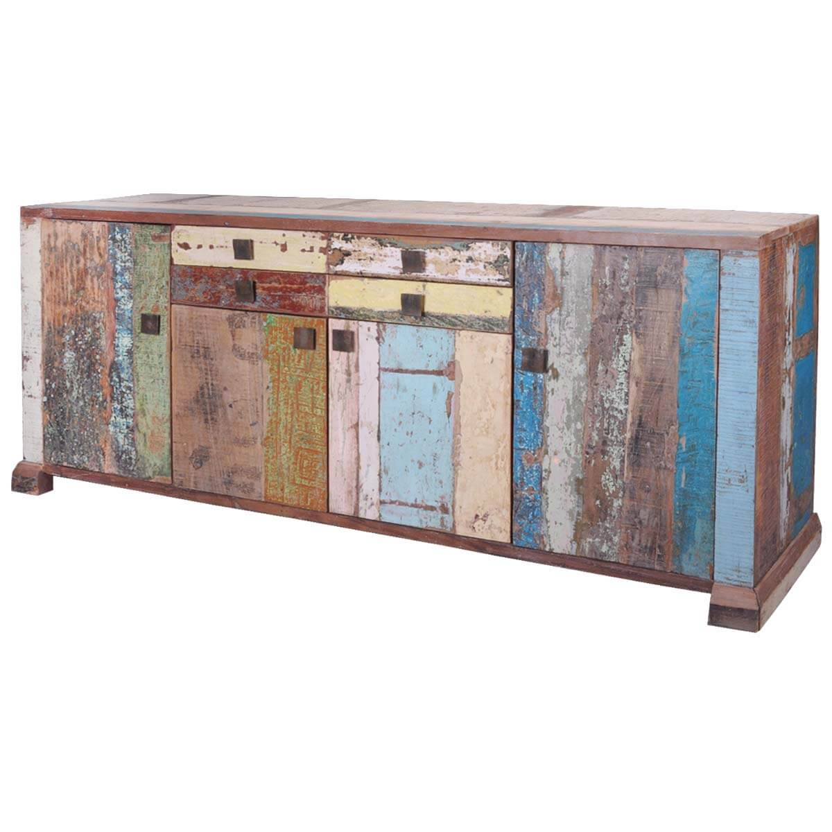 Reclaimed Wood Distressed Weathered Storage Cabinet
