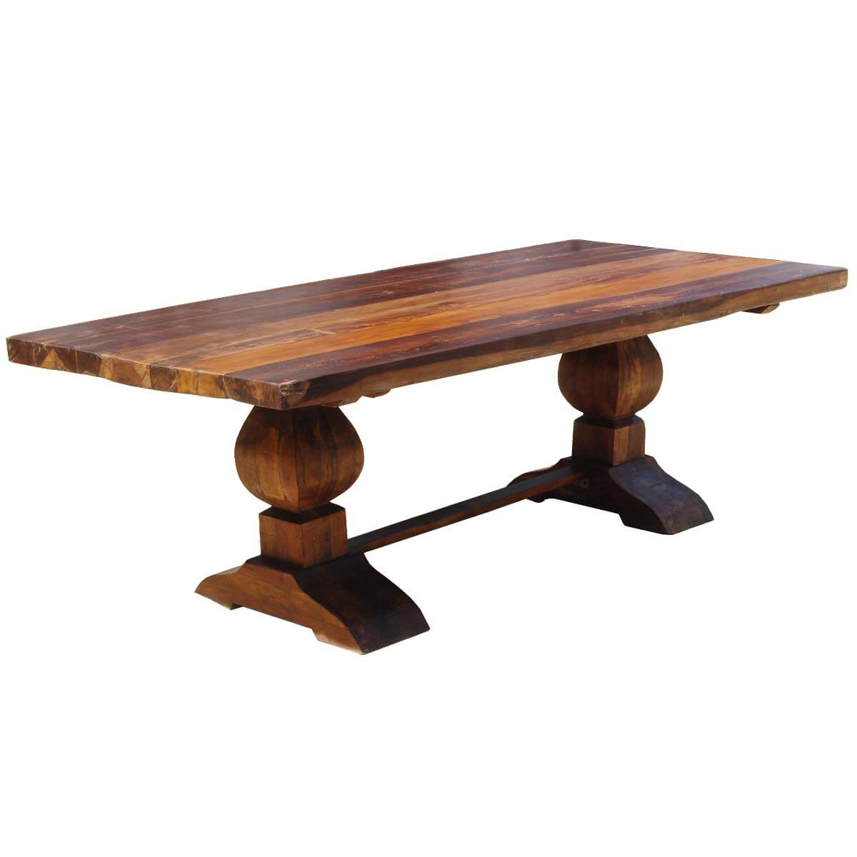large rustic reclaimed wood double trestle pedestal dining room table