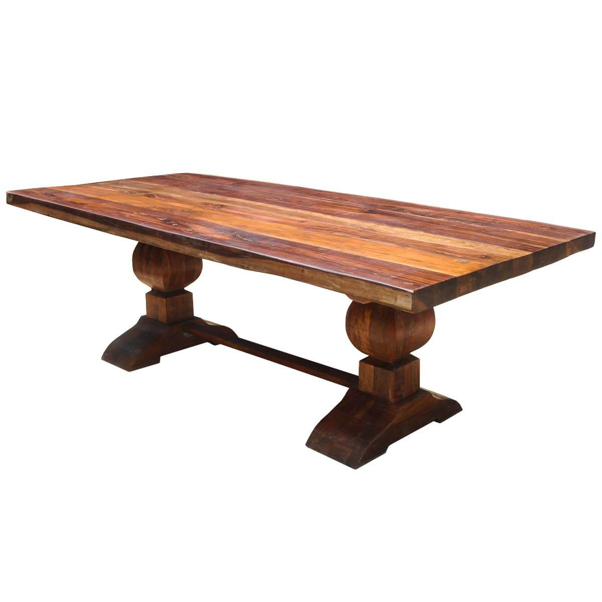 Large rustic reclaimed wood double trestle pedestal dining for Pedestal dining table