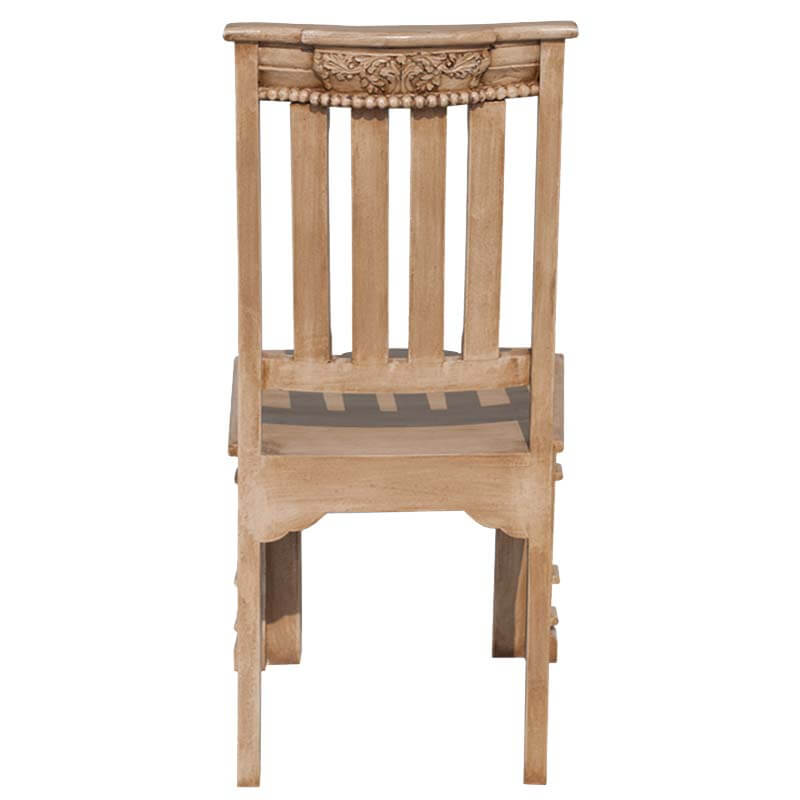 Roman Pillar Hand Carved Mango Wood Dining Chair Set Of Two
