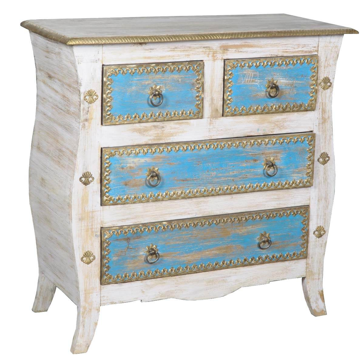 Queen Anne Painted Old Wood Blue &White Dresser
