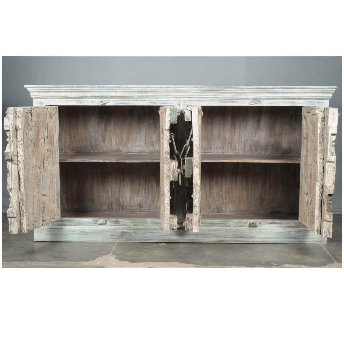 Distressed Wood Buffet ~ Camelot old wood distressed buffet sideboard cabinet