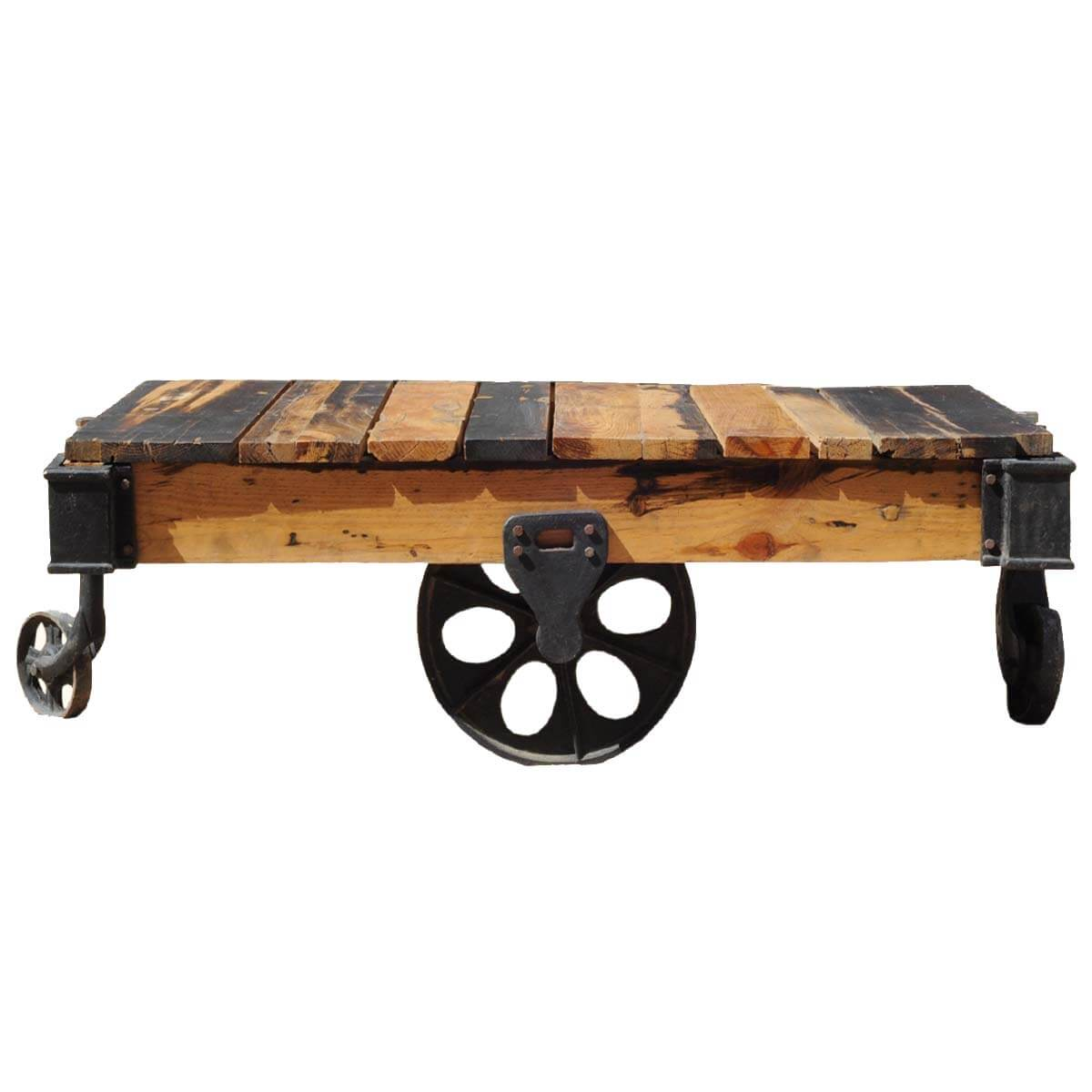 Reclaimed Mill Cart Coffee Table: Rustic Reclaimed Wood Rolling Factory Cart Coffee Table