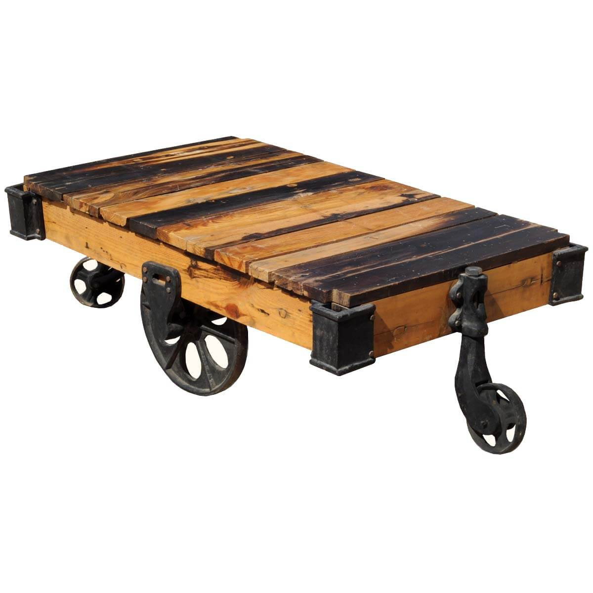 Rustic Reclaimed Wood Rolling Factory Cart Coffee Table